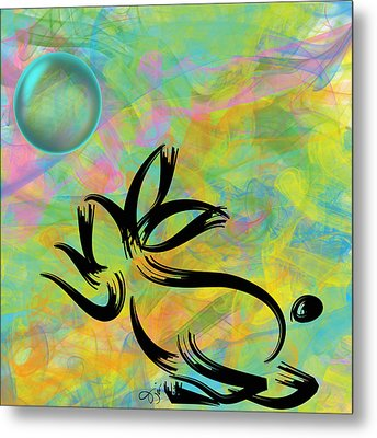 Bubbly Rabbit Metal Print by Oiyee At Oystudio
