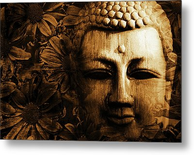Buddha In Chrysanthemums Metal Print by Skip Nall