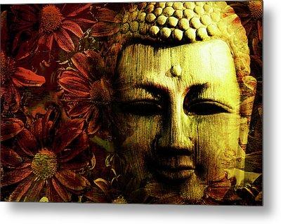 Buddha In Red Chrysanthemums Metal Print by Skip Nall