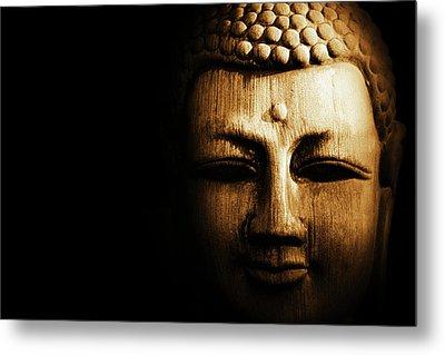 Buddha In Sepia Metal Print by Skip Nall