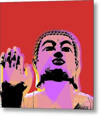 Buddha Pop Art  Metal Print by Jean luc Comperat