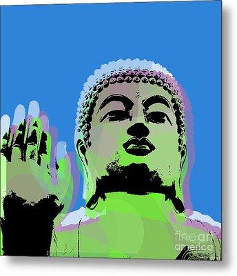 Buddha Warhol Style Metal Print by Jean luc Comperat