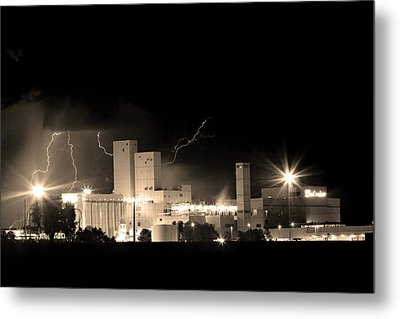 Budwesier Brewery Lightning Thunderstorm Image 3918  Bw Sepia Im Metal Print by James BO  Insogna