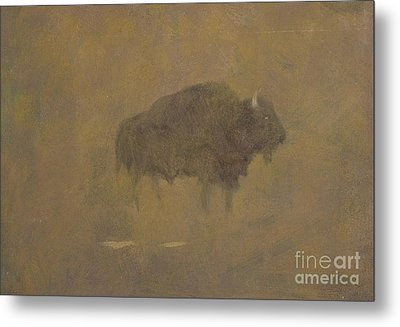 Buffalo In A Sandstorm Metal Print by Albert Bierstadt