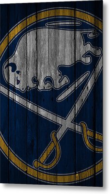Buffalo Sabres Wood Fence Metal Print by Joe Hamilton
