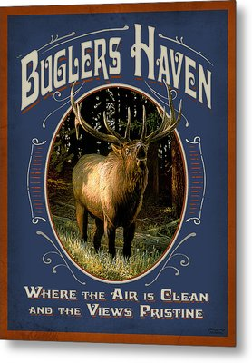Buglers Haven Sign Metal Print by JQ Licensing