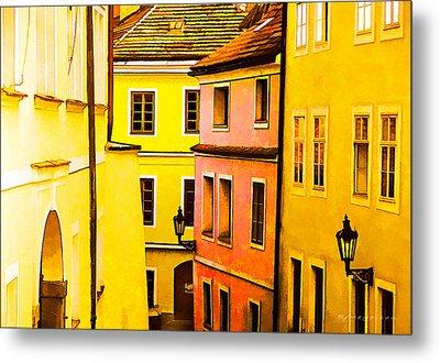 Buildings In Prague Metal Print by Robert Meyerson