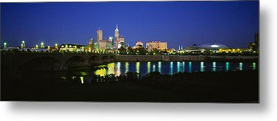 Buildings Lit Up At Dusk, Indianapolis Metal Print by Panoramic Images