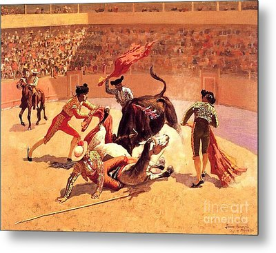 Bull Fight In Mexico Metal Print by Roberto Prusso