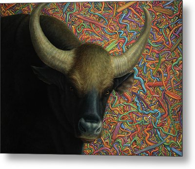 Bull In A Plastic Shop Metal Print by James W Johnson