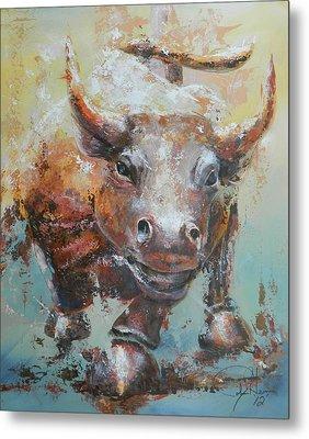 Bull Market Y Portrait Metal Print by John Henne