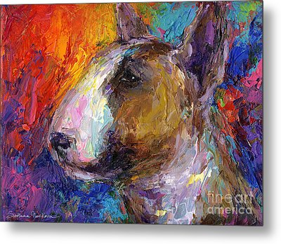 Bull Terrier Dog Painting Metal Print by Svetlana Novikova
