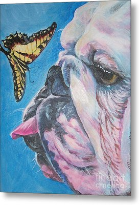 Bulldog And Butterfly Metal Print by Lee Ann Shepard
