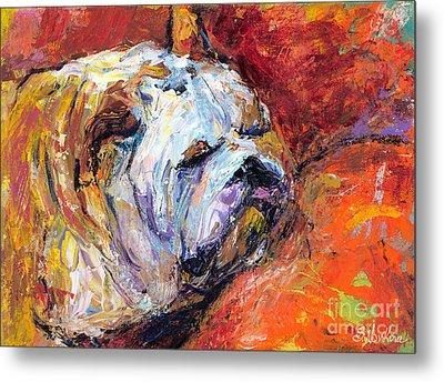 Bulldog Portrait Painting Impasto Metal Print by Svetlana Novikova