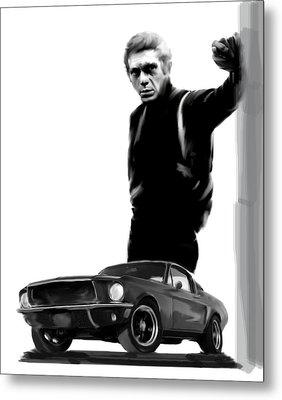 Bullitt Cool  Steve Mcqueen Metal Print by Iconic Images Art Gallery David Pucciarelli