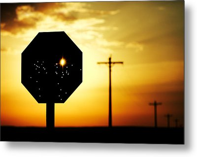 Bullet-riddled Stop Sign Metal Print by Todd Klassy