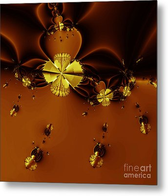 Bumble Beez Over Chocolate Lake . Square . S19 Metal Print by Wingsdomain Art and Photography
