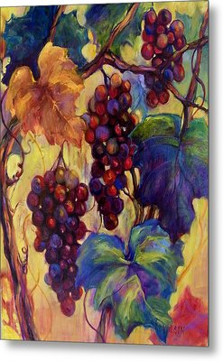 Burgundy Grapes Metal Print by Peggy Wilson