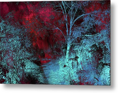 Burgundy Red Moonlight Metal Print by Jenny Rainbow