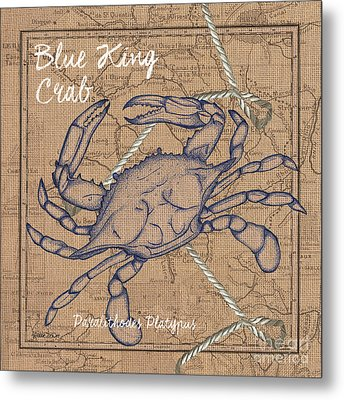 Burlap Blue Crab Metal Print by Debbie DeWitt