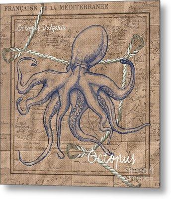 Burlap Octopus Metal Print by Debbie DeWitt