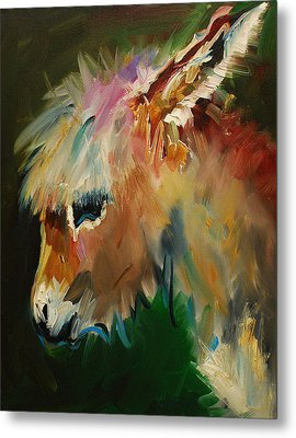 Burro Donkey Metal Print by Diane Whitehead