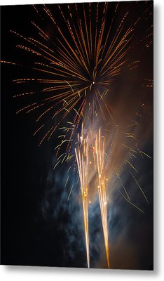 Bursting Colorful Fireworks Metal Print by Garry Gay