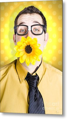 Business Man Celebrating Summer With Sun Flower Metal Print by Jorgo Photography - Wall Art Gallery