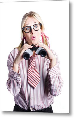 Business Woman With Binoculars Metal Print by Jorgo Photography - Wall Art Gallery