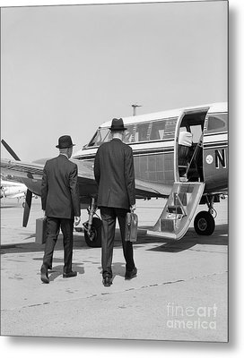 Businessmen Walking To Plane Metal Print by H. Armstrong Roberts/ClassicStock