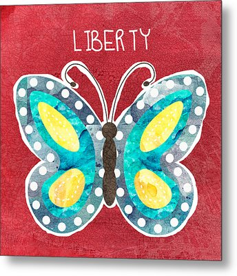 Butterfly Liberty Metal Print by Linda Woods