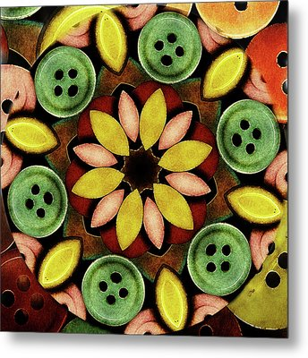Buttons Abstract Metal Print by Bonnie Bruno