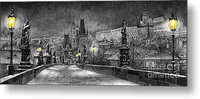 Bw Prague Charles Bridge 06 Metal Print by Yuriy  Shevchuk