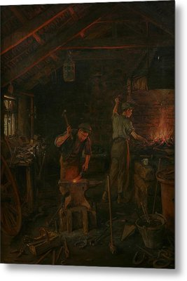 By Hammer And Hand All Arts Doth Stand Metal Print by William Banks Fortescue