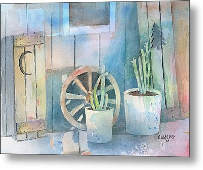 By The Side Of The Shed Metal Print by Arline Wagner