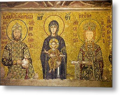 Byzantine Mosaic In Hagia Sophia Metal Print by Artur Bogacki