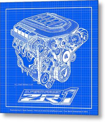 C6 Zr1 Corvette Ls9 Engine Blueprint Metal Print by K Scott Teeters