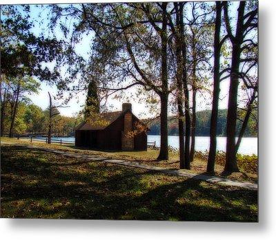 Cabin By The Lake Metal Print by Sandy Keeton