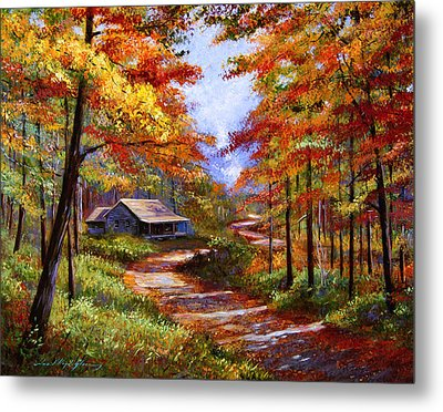 Cabin In The Woods Metal Print by David Lloyd Glover