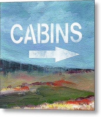 Cabins- Landscape Painting By Linda Woods Metal Print by Linda Woods