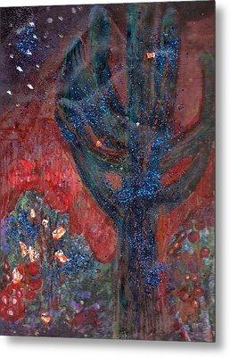 Cactus At Night In The Dark Yet Bright Metal Print by Anne-Elizabeth Whiteway