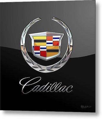 Cadillac - 3d Badge On Black Metal Print by Serge Averbukh