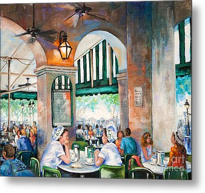 Cafe Girls Metal Print by Dianne Parks