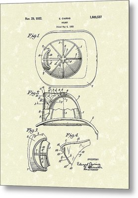Cairns Helmet 1932 Patent Art Metal Print by Prior Art Design