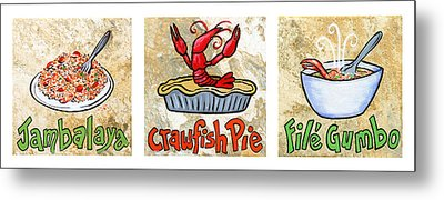Cajun Food Trio White Border Metal Print by Elaine Hodges