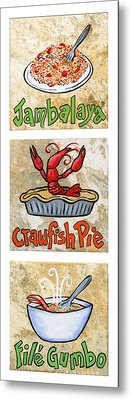 Cajun Trio White Metal Print by Elaine Hodges