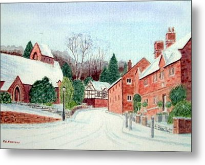 'caldy Village In Winter', Wirral Metal Print by Peter Farrow