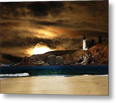 California Lighthouse Moon Metal Print by Randall Branham
