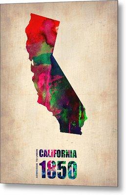 California Watercolor Map Metal Print by Naxart Studio