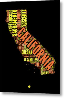California Word Cloud Map 1 Metal Print by Naxart Studio